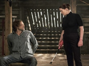 "Supernatural -- ""Keep Calm and Carry On"" -- SN1201b_0113.jpg -- Pictured (L-R): Jared Padalecki as Sam and Bronagh Waugh as Ms. Watt -- Photo: Katie Yu/The CW -- © 2016 The CW Network, LLC. All Rights Reserved"